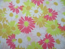 Retro Vintage Mod Pink Yellow Orange Flowers Sheet or Fabric