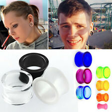 "Pair Semi Transparent Acrylic Flesh Tunnel Double Flare Ear Plugs Gauge 6G-1"" US"