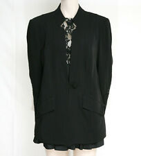 WOMANS BLACK TAILORED JACKET WITH EMBROIDERY SLEEVES BY ELVI SIZE 18