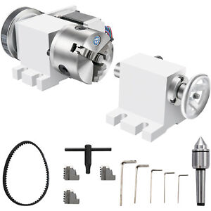 CNC Router Rotational Rotary Axis 100mm 3 jaw chuck &Tailstock 4th-Axis Engraver