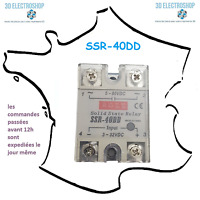 Relais statique SSR-40-DD entrée 3-32VDC sortie 5-80VDC 40A
