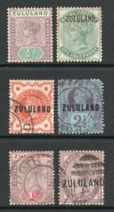 ZULULAND SIX DIFFERENT STAMPS