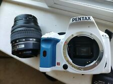 Pentax K-X sr-White &blue/Lens kit w/AL18-55 zoom lens/with Wide lens l(0.43x)