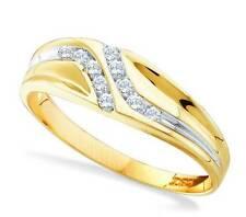 Men's 10K Yellow Gold Diamond Ring .12ct Channel Set White Diamond Band 100% 10K