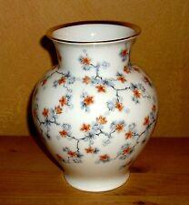 Thomas 1 Blumen Tisch Vase mehrfarbiges Blumendekor mit Goldrand  16 cm hoch