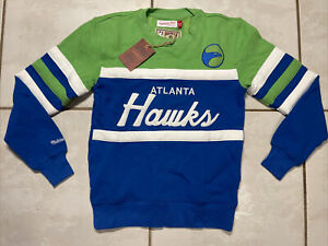 NWT MITCHELL & NESS Atlanta Hawks NBA Head Coach Crew Sweatshirt  Men's Small