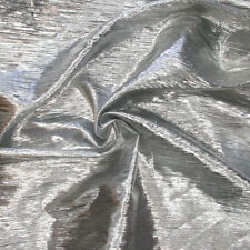 Metallic Crease Crinkled Lame Fabric 44 inches width sold by the yard Silver
