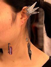 Boucles d'Oreilles Clips Extravagant Longue Tassel Ail Argenté Noir Original J5