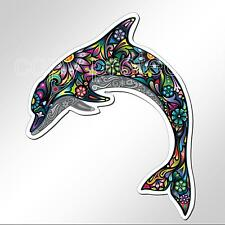 funny car bumper sticker colourful dolphin bright flowers 97.5 x 124 mm decal
