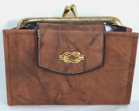 NOS Womens Wallet Brown Leather French Kiss Lock Coin Purse Billfold Bifold