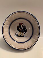 """Vintage Small Serving Bowl With Blue Rooster Made in Italy 5.5"""" Mid Century"""