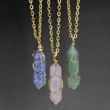New Natural Gemstone Crystal Quartz Healing Point Chakra Pendant Gold Necklace