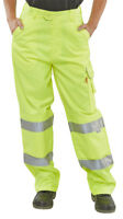BSeen High Visibility Yellow Ladies Womens Cargo Trousers Work Pants Hi Viz Vis