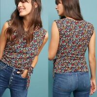 ANTHROPOLOGIE NWT $68 Maeve Floral True Wrap Sleeveless Top Size Small