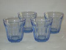 Set of 4 Vintage PASABAHCE Blue Periwinkle Old Fashion / Rocks Glass, Turkey
