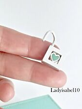 RARE Tiffany & Co Sterling Silver Heart Enamel Padlock Charm .91in Pendant 2058G