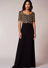 Virgos Lounge Gold Geometric Embellished Evening Party Long Maxi Dress 8 to 12