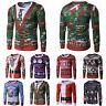 Christmas Mens Casual Long Sleeve Hoodies Santa 3D Print Pullover Top Xmas Shirt