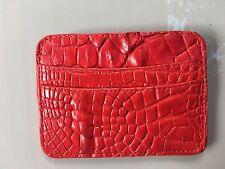 100% vera pelle di coccodrillo uomo porta carte di credito wallet rosso
