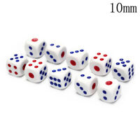 10Pcs Six Sided Square Opaque 10mm D6 Dice Portable Table Games Tool JKCA