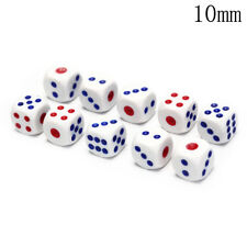 10Pcs Six Sided Square Opaque 10mm D6 Dice Portable Table Games Tool PL