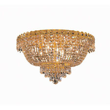 "Gold Flush Mount Crystal Hallway Bedroom Ceiling Chandelier Fixture 9 Light 20"""