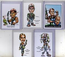 WALKING DEAD TV SERIES SET #1 (5 CARDS) ART PRINTS DARYL SKETCH GLEN WALKER RAK