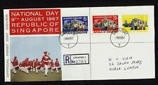 SINGAPORE 1966 National Day Stamps on 1967 National Day First Day Cover FDC!