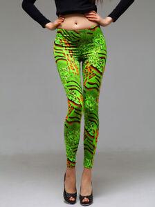 Picky Boo Jungle Green Neon Orange Print Design Legging S/M Size 1-7