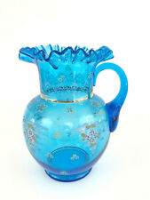 Antique Victorian blue glass & enameled water pitcher 1880's 1890's