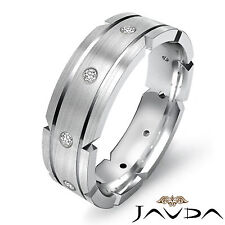 Bezel Mens Round Diamond Eternity Wedding Solid Dome Band 14k White Gold 0.21Ct