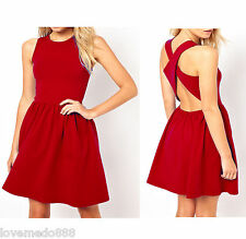 Club Party Casual Round Neck Strap Cross Open Back Solid Skater Dress Red MEDIUM
