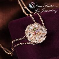 18K Rose Gold GP Made With Swarovski Crystal Colorful Flower 2x Chain Bracelet