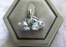 Sterling Silver multi color Swarovski Crystals ruby Bunny Rabbit Pendant Thai