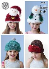King Cole Knitting Pattern 4478 Children's Novelty Christmas Hats - 4 designs