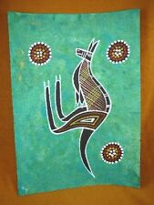 AUS-2 Kangaroo green Australian Native Aboriginal dot PAINTING Artwork T Morgan