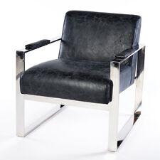Vintage Fauteuil en cuir noir cuir véritable bureau salle d'Attente Design