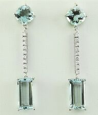 15.46 Carat Natural Aquamarine 14K Solid White Gold Diamond Earrings