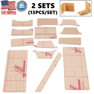 26pcs Leather Craft Acrylic Short Wallet Pattern Stencil Template Tool DIY Gifts