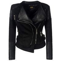 Punk Motor Women Outdoor Leather Jacket Zipper Gothic Suede Outwear Buckles Coat