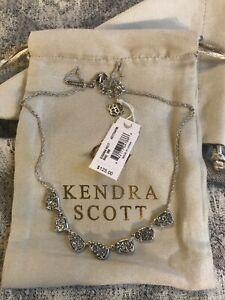 NWT Kendra Scott Susanna Silver Collar Necklace In Platinum Drusy $125