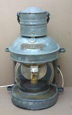 Ancienne LANTERNE DE BATEAU MASTHEAD ENGLAND marine lampe à pétrole électrifiée