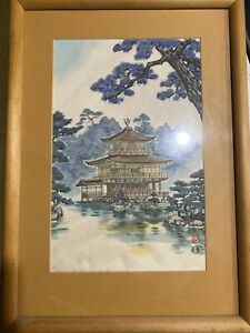 Japanese woodblock print on silk by well-known Japanese  artist Nisaburo Ito