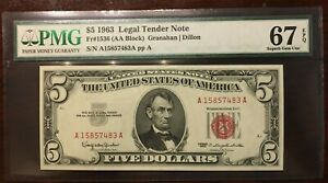 1963 $5 Legal Tender, PMG 67, FR#1536 Red Seal See Book Paper Money Messages