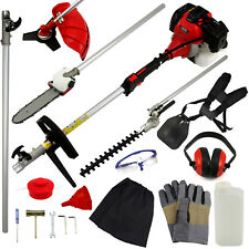 52cc 5 in 1 Garden Multi Tool Petrol Hedge Trimmer Strimmer Chainsaw Brushcutter