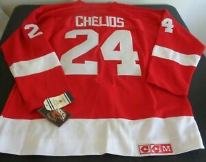 CHRIS CHELIOS Detroit RED WINGS Hockey CCM Sewn VINTAGE Size 50 Jersey NEW Red
