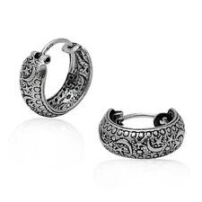 Star Moon Design 925 Sterling Silver Oxidize Bali Style Hugging Hoop Earrings