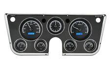 67-72 Chevy Truck C10 Dakota Digital Black Alloy & Blue Analog Clock Gauge Kit