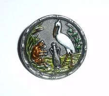 Wonderful Colored Antique Reproduction Stork Bird Metal Shank Button -  1-3/16""