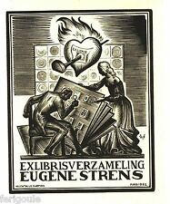 EX-LIBRIS d'Eugène STRENS par Valentin Le Campion.